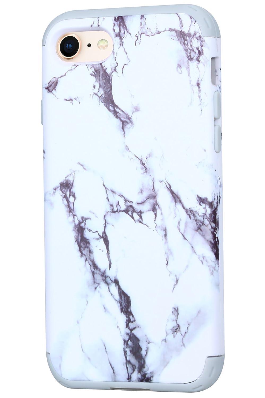 iPhone 8Coque, Savyou Drop protection Bumper en silicone absorbant les chocs Coque rigide hybride Dual Layer Full-body Coque de protection pour Apple iPhone 7/811,9cm Marble - Black