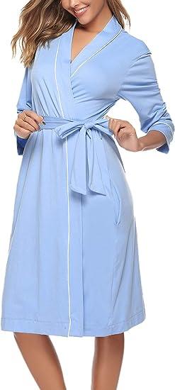 iClosam Batas Mujer Algodón Largo,Kimono Encaje con Cinturón ...