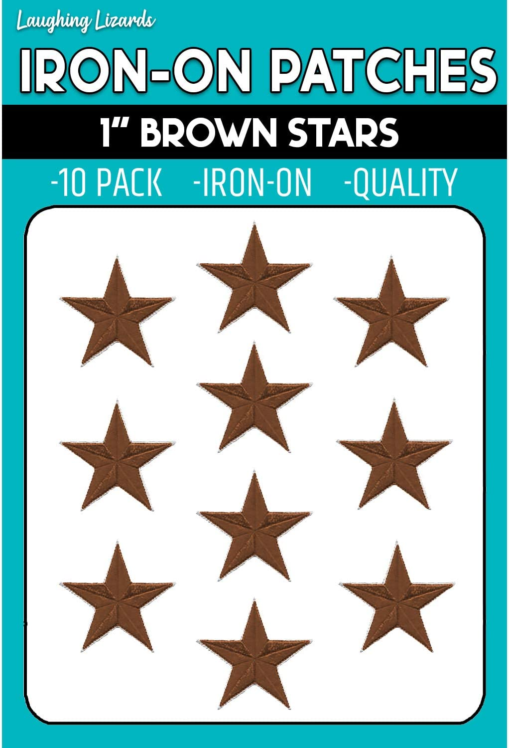 10 Pack of 1 Iron On Star Patches Embroidered Patch Applique Embellishments for Clothing Jackets Black Backpacks and Decorations