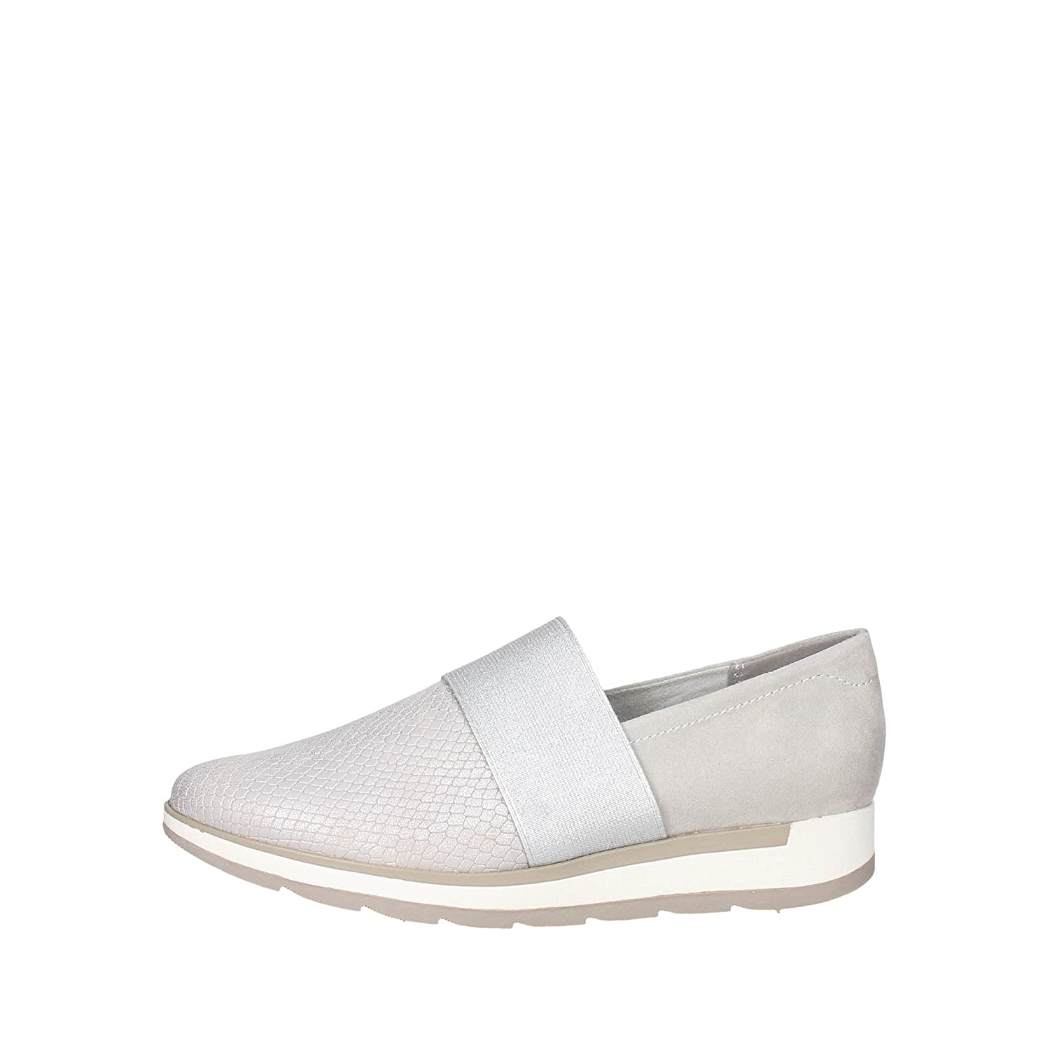 Marco Tozzi 24713 Slip-on Chaussures Femme Argent Argent - Chaussures Baskets basses Femme