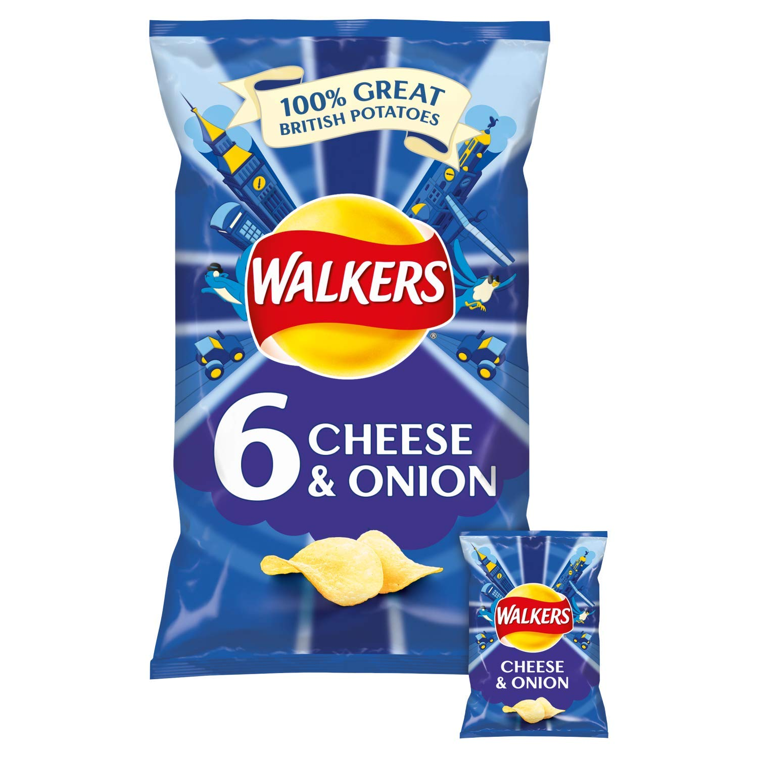 Walkers Cheese & Onion Crisps 6 X 25G