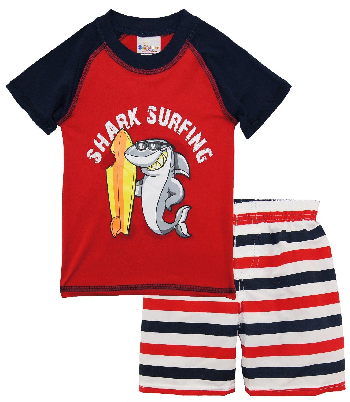 Sweet & Soft Little Boys Shark Surfing Rash Guard Stripe Swim Trunk Set, Red, 2T