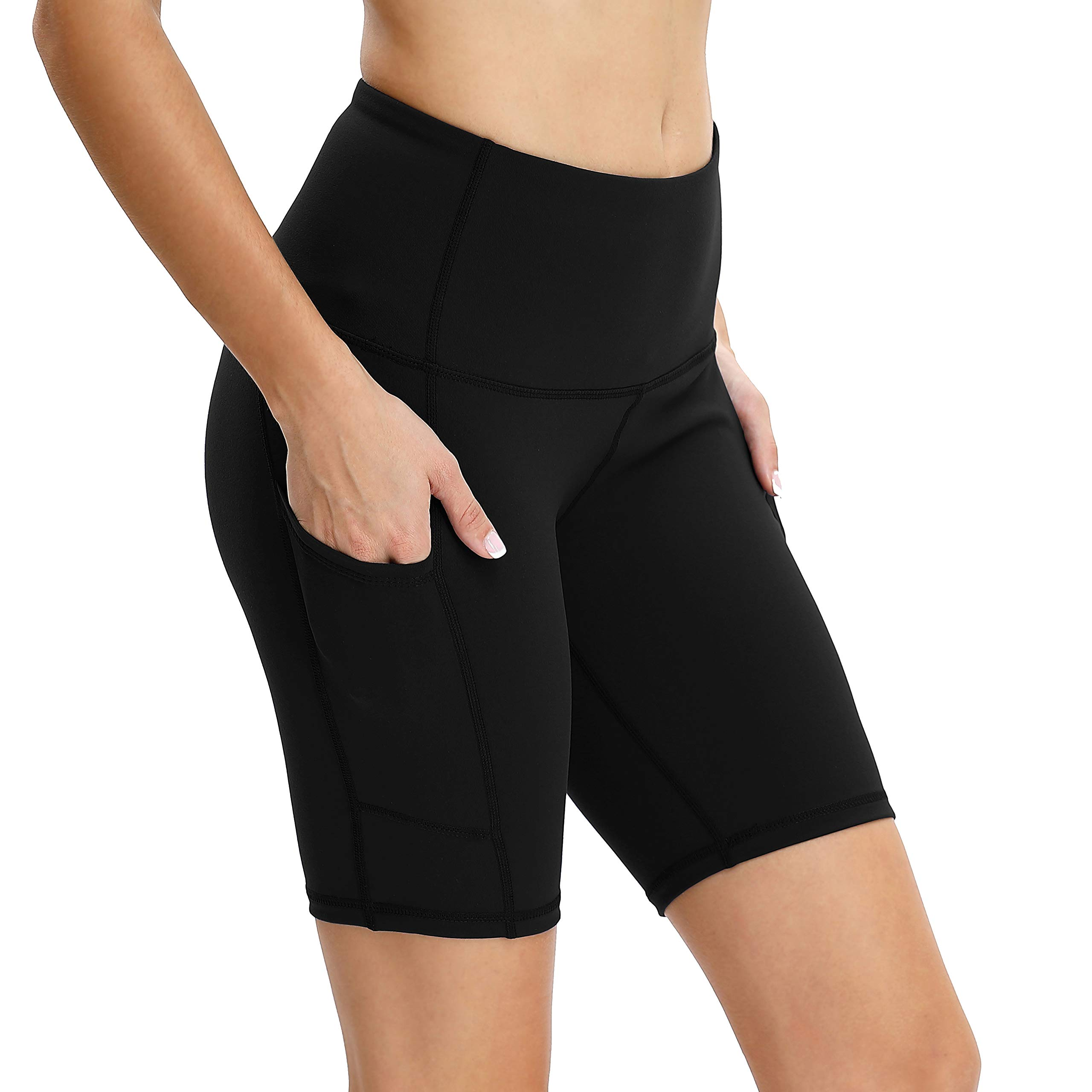 Vogyal Women's 8'' Yoga Shorts High Waist Tummy Control Workout Running Shorts with 2 Pockets -Black M