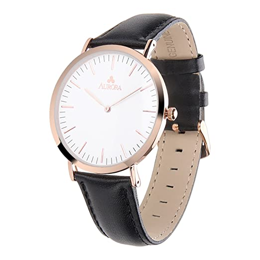 650077f9d3d75 Aurora Women s Classic Steel Quartz Watch With Black Band (Rose Gold)