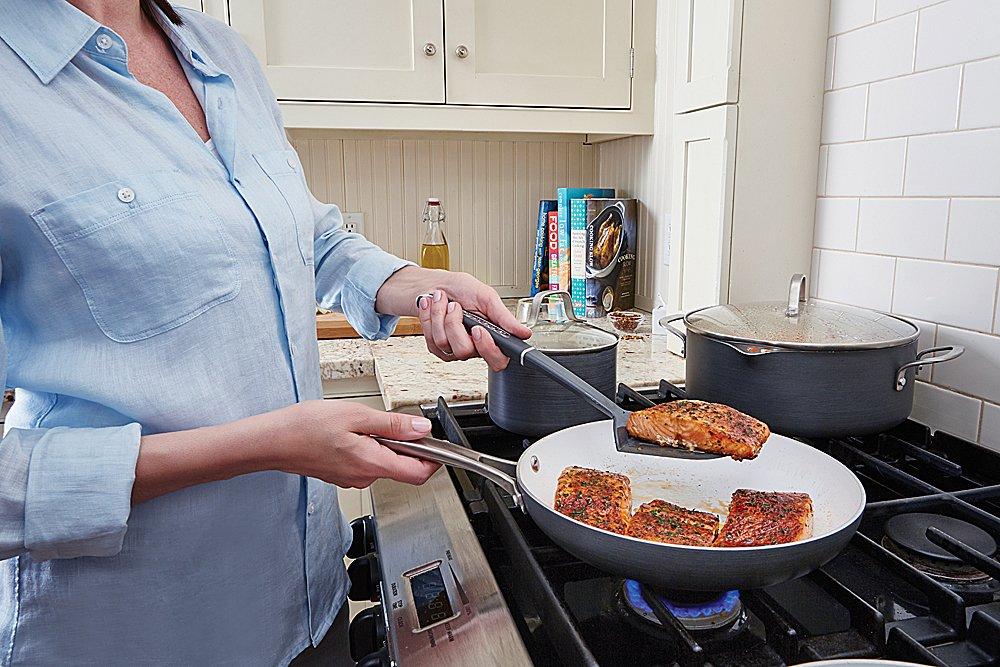 Calphalon 2 Piece Classic Ceramic Nonstick Omelet Chef Pan Set, Grey/White by Calphalon (Image #6)