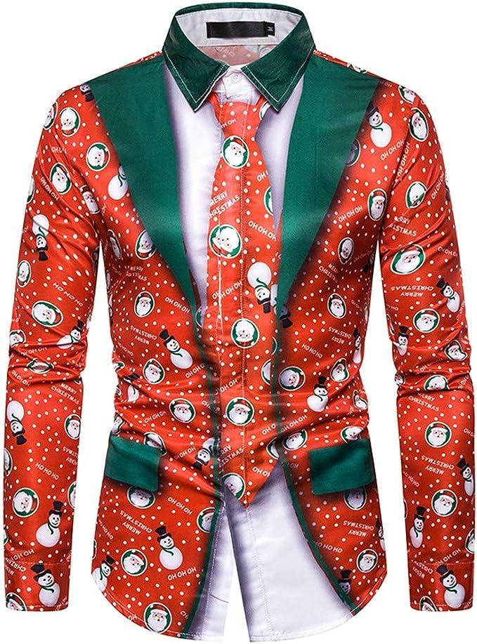 LHWY Camisa de Hombre Falso Dos Piezas Casual Copos de Nieve Impresa Navidad Camiseta Blusa Superior T Shirt tee: Amazon.es: Ropa y accesorios