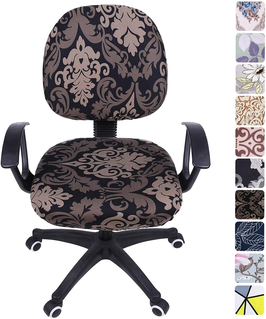 smiry Stretch Print Computer Office Chair Cover, Removable Washable Universal Desk Rotating Chair Slipcover, Black Flower