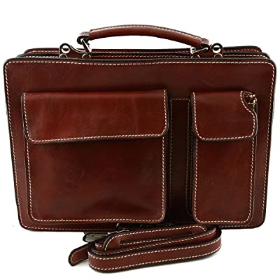 Dream Leather Bags Made in Italy Genuine Leather Genuine Leather Business Bag Mod. Small Color Red 50%OFF