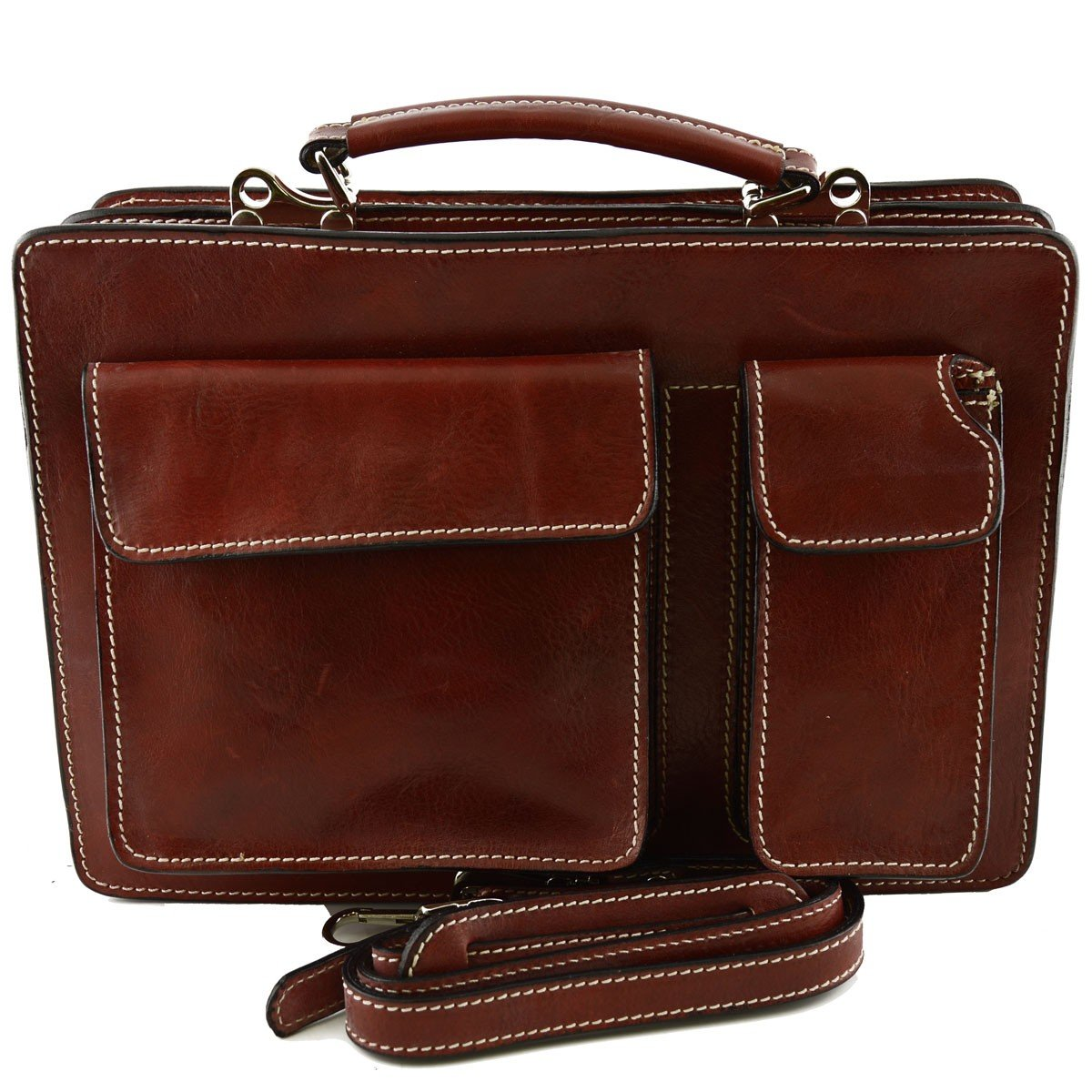 Made In Italy Genuine Leather Business Bag Mod. Small Color Red - Business Bag   B01N7Z66D3
