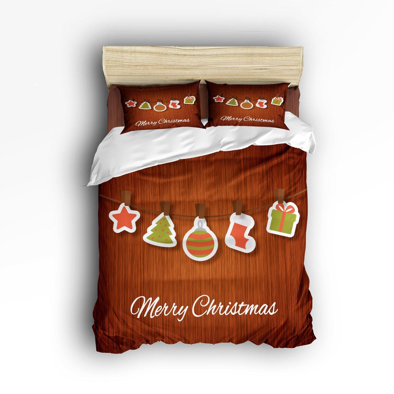 Christmas Gifts Star Socks Tree Pendant on Wood Decor Duvet Cover Set, Soft Microfiber Bedding with Zipper Closure by KAROLA