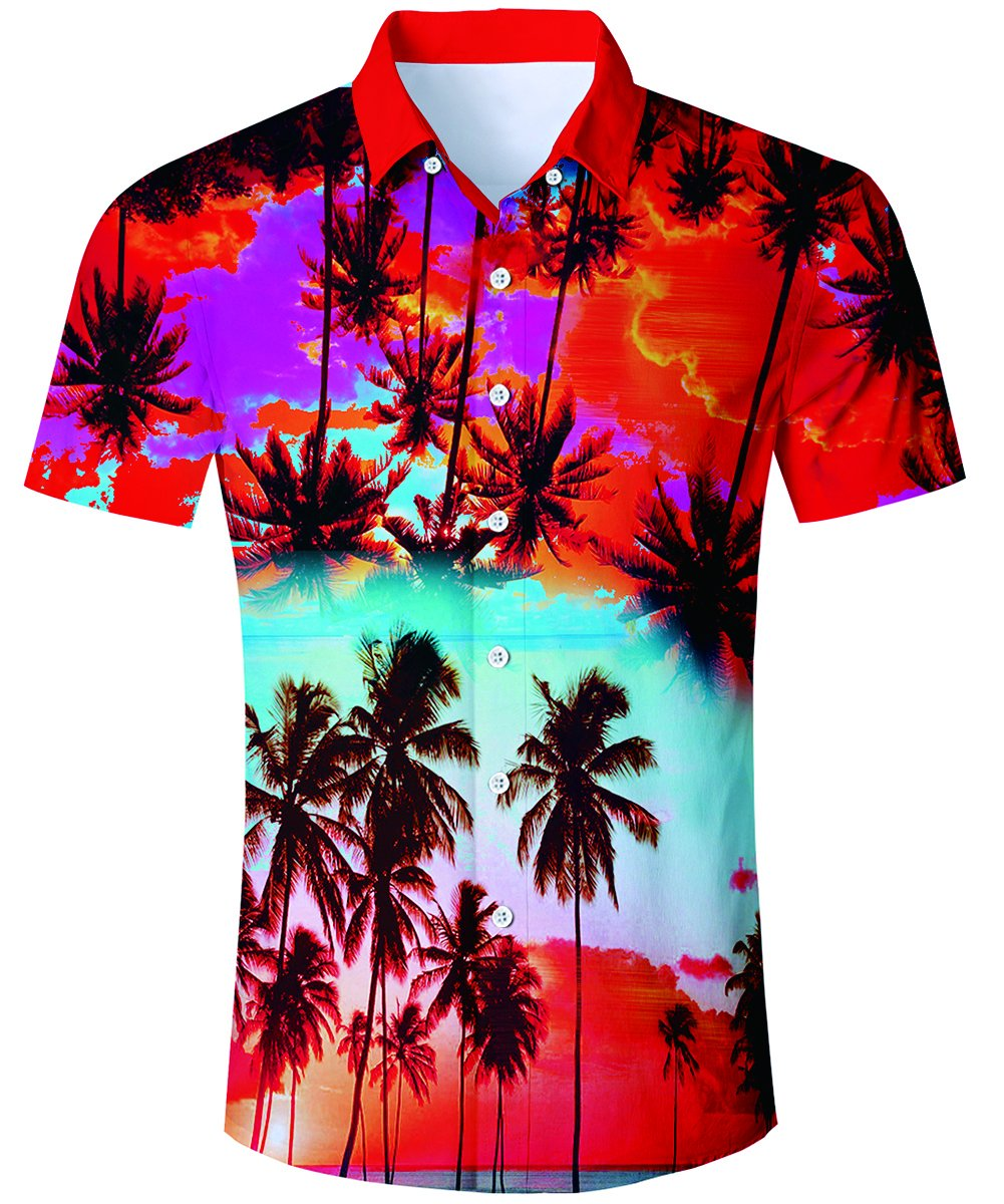 TUONROAD Youth Retro Casual Aloha Cool Hawaiian Luau Shirt Cute Red Sunset Glow Purple Clouds Blue Sky Button Down Shirt Short Sleeve Shirt,Beach-R