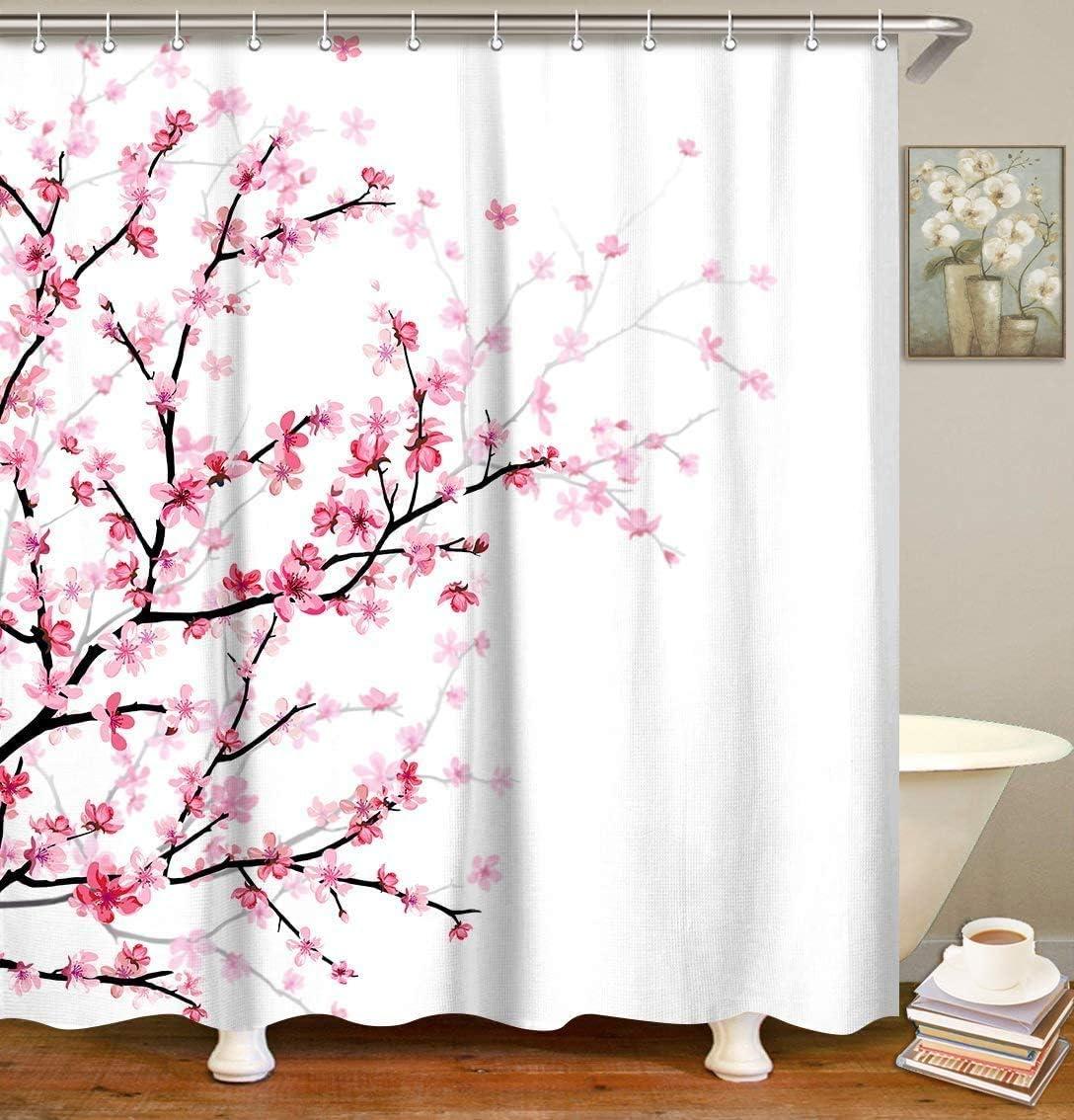 LIVILAN color rosa lavable a m/áquina con 12 ganchos decoraci/ón de ba/ño 183 x 198 cm Cortina de ba/ño con flores de cerezo y flores color blanco