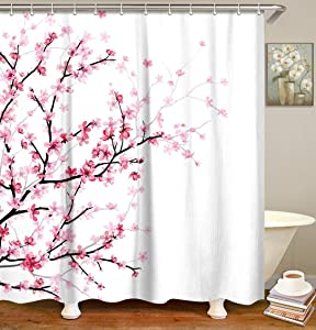 "LIVILAN Pink Floral Bathroom Curtain Cherry Blossom Shower Curtain Set with 12 Hooks, Flower Fabric Bath Curtain Bathroom Decor, Machine Washable, White, 72"" X 84"""