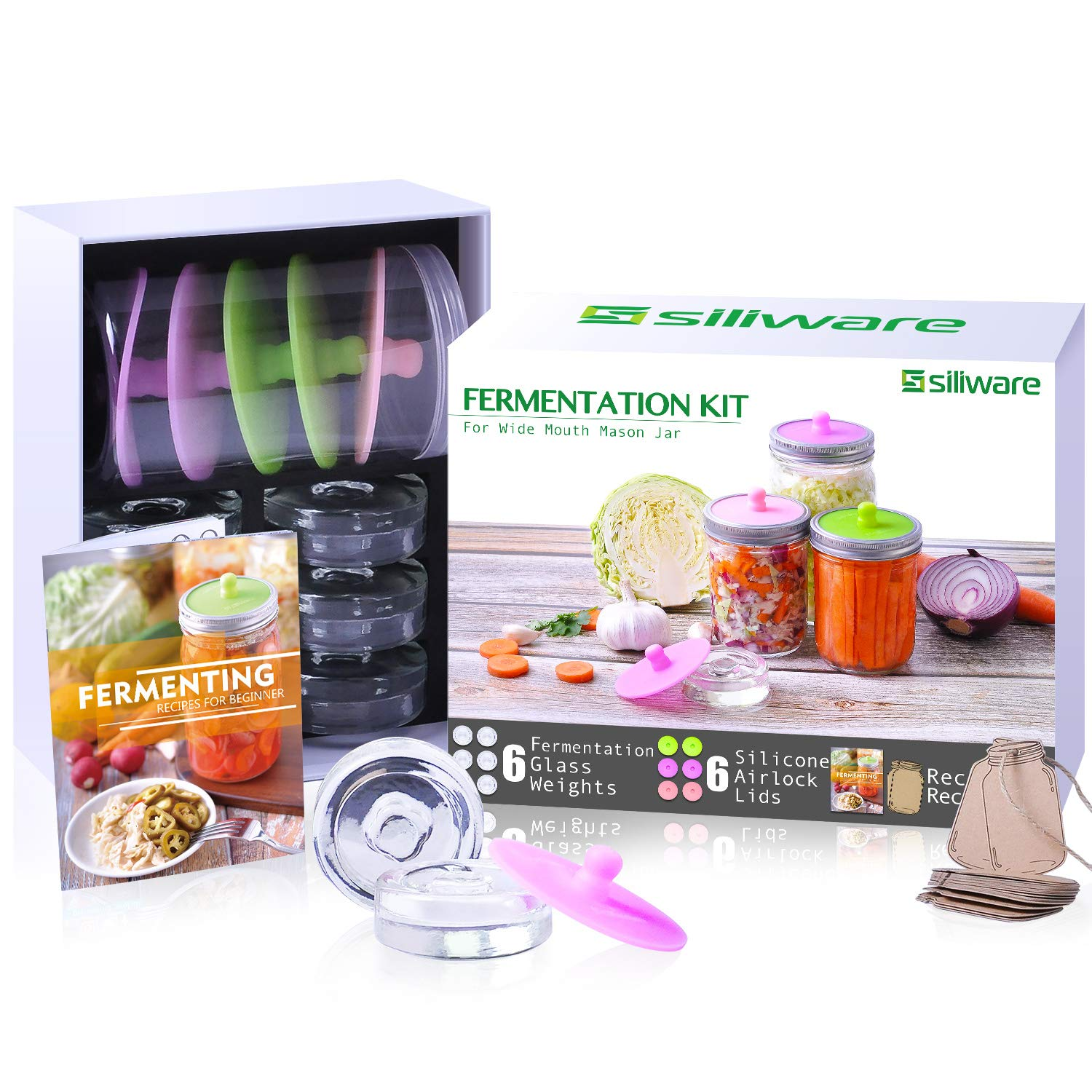 Easy Fermentation Kit for Wide Mouth Mason Jar, Includes 6 Silicone Fermenting Airlock Lids, 6 Glass Fermentation Weights, and Record Tags by siliware