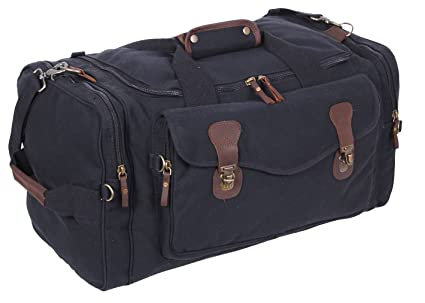 03d09b114 Amazon.com: Rothco Canvas Long Weekend Bag, Black: Sports & Outdoors