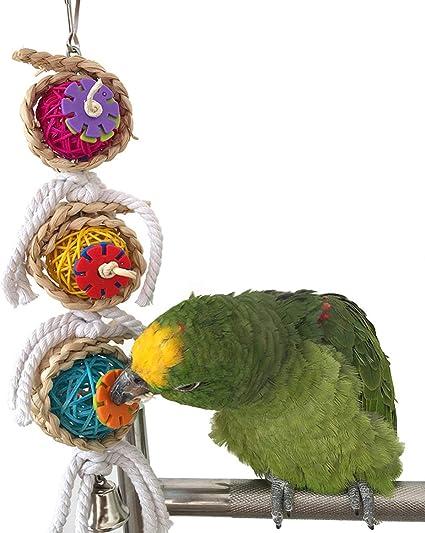 Ball with key to bite pet bird parrot toy cage toys mini macaw senega cockatoo