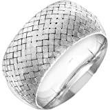 Citerna Rhodium Plated Silver 35 mm Extra Wide Basket Weave Dome Bangle of Diameter 65 mm