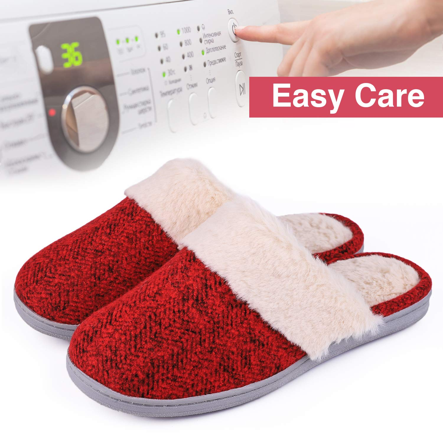 Womens Comfy Memory Foam Slide Slippers Wool-Like Plush Clog House Shoes w//Indoor Outdoor Sole