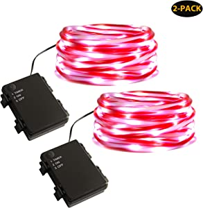 MYHH-LITES Rope Lights Battery Powered, 16.5ft Red&White Candy Cane Tube with 67 Cool White LEDs Fairy Lights, Waterproof with Timer for DIY Wedding, Party, Garden, Corridor, Christmas Decor-2Pack