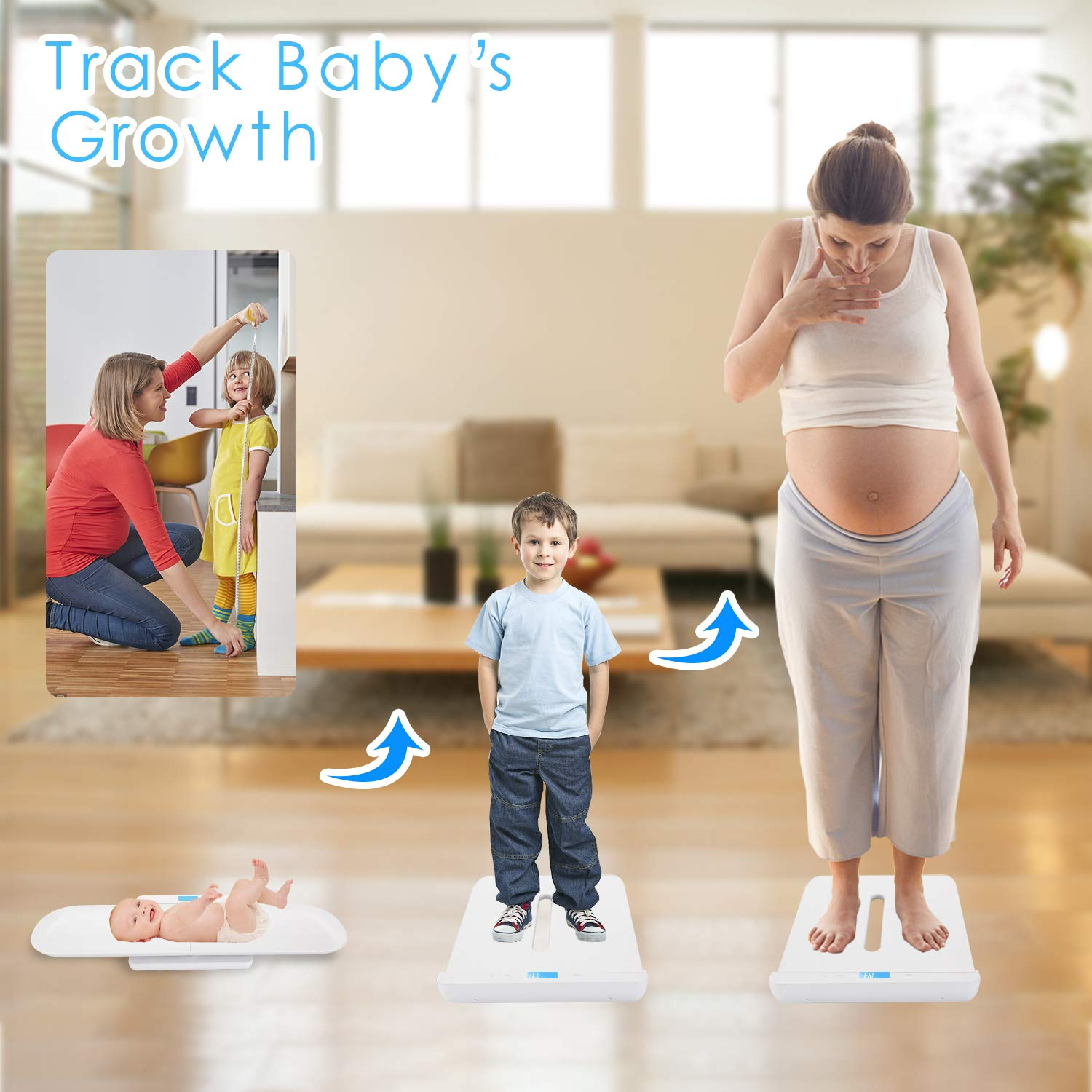 BYKAZATY Pet Scale with Tape Measure, Multi-Function Baby Scale, Infant Scale Digital Weight with Height Tray(Max: 70cm), Measure Weight Accurately(Max: 220lb), Perfect for Toddler/Puppy/Cat/Dog/Adult by BYKAZATY (Image #4)