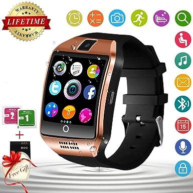 Reloj Inteligente, Bluetooth Smartwatch con Pantalla táctil con cámara, Relojes Inteligentes Impermeables, Reloj