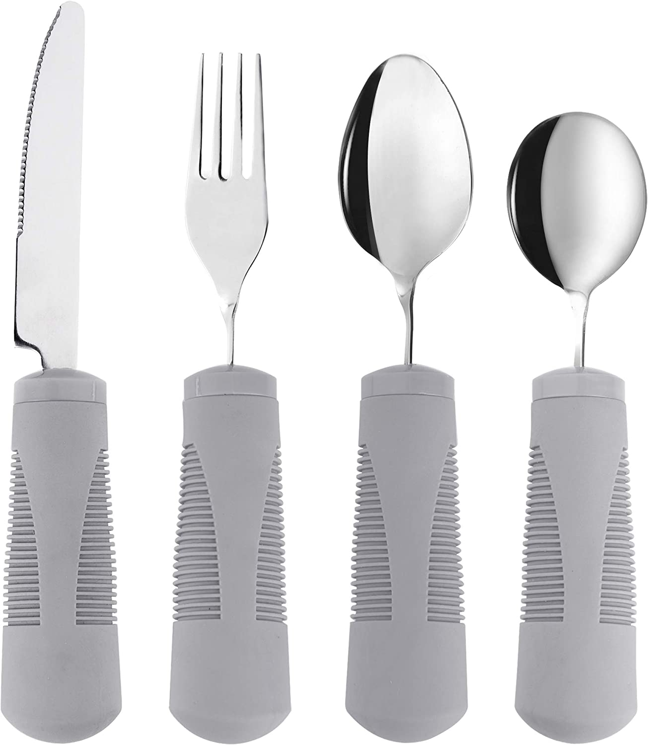 Adaptive Utensils (4-Piece Kitchen Set) Wide, Weighted, Non-Slip Handles for Hand Tremors, Arthritis, Parkinson's or Elderly use - Stainless Steel Knife, Fork, Spoons (Gray Weighted Bendable): Health & Personal Care