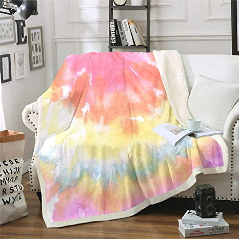 soft baby blanket Great  baby shower  gift  Tie dye groovy baby nursery BABY BLANKET  Fun Tie dye print with Pink minky dimples