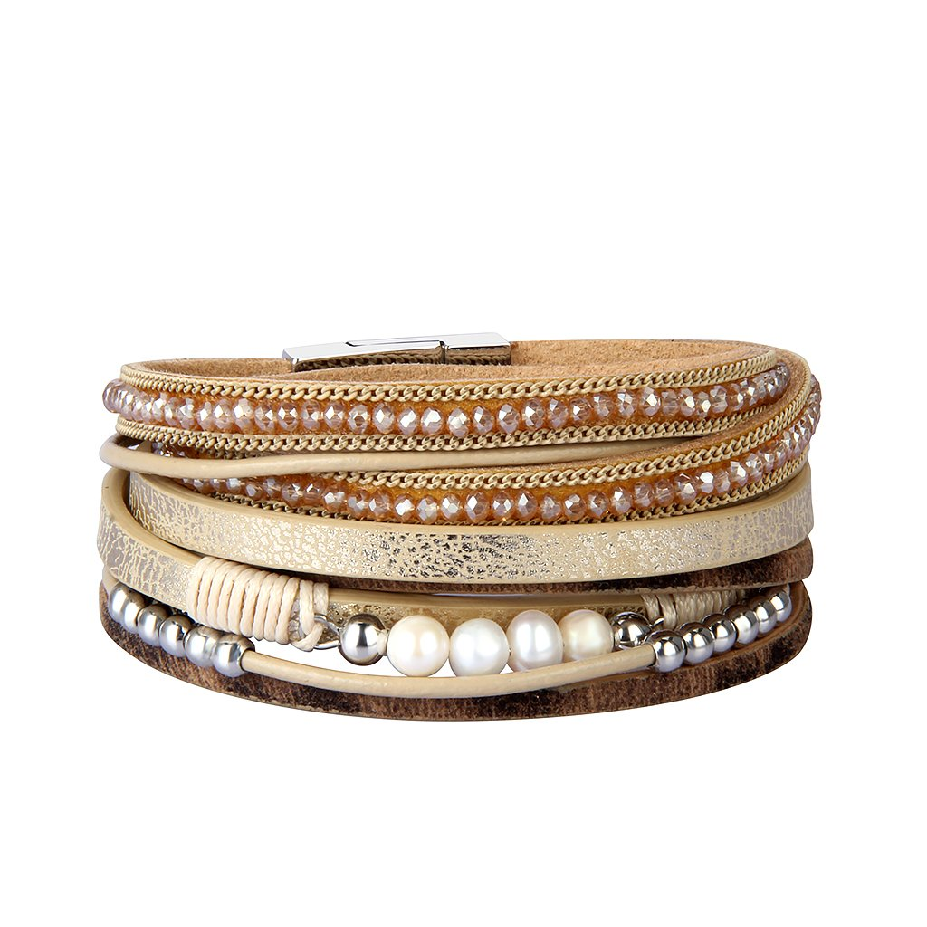 JOYMIAO Genuine Leather Cuff Bracelet Crystal Woven Wrap Pearl Hamdmade Bangle Elegant Women