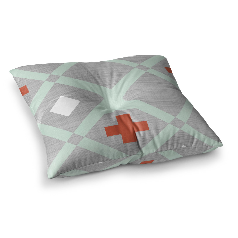 23 x 23 Square Floor Pillow Kess InHouse Pellerina Design Lattice Weave Gray Mint
