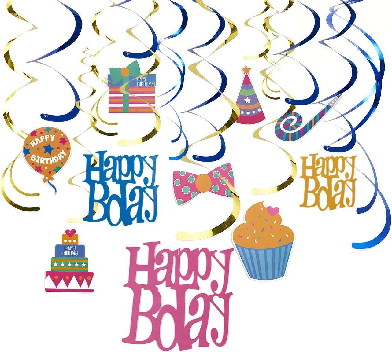 30-Count Swirl Decorations -Happy Bday Party Whirl Streamers - Happy Birthday Party Supplies, Hanging Decorations, Multiple Colors Designs, 35 to 38 inches in Length