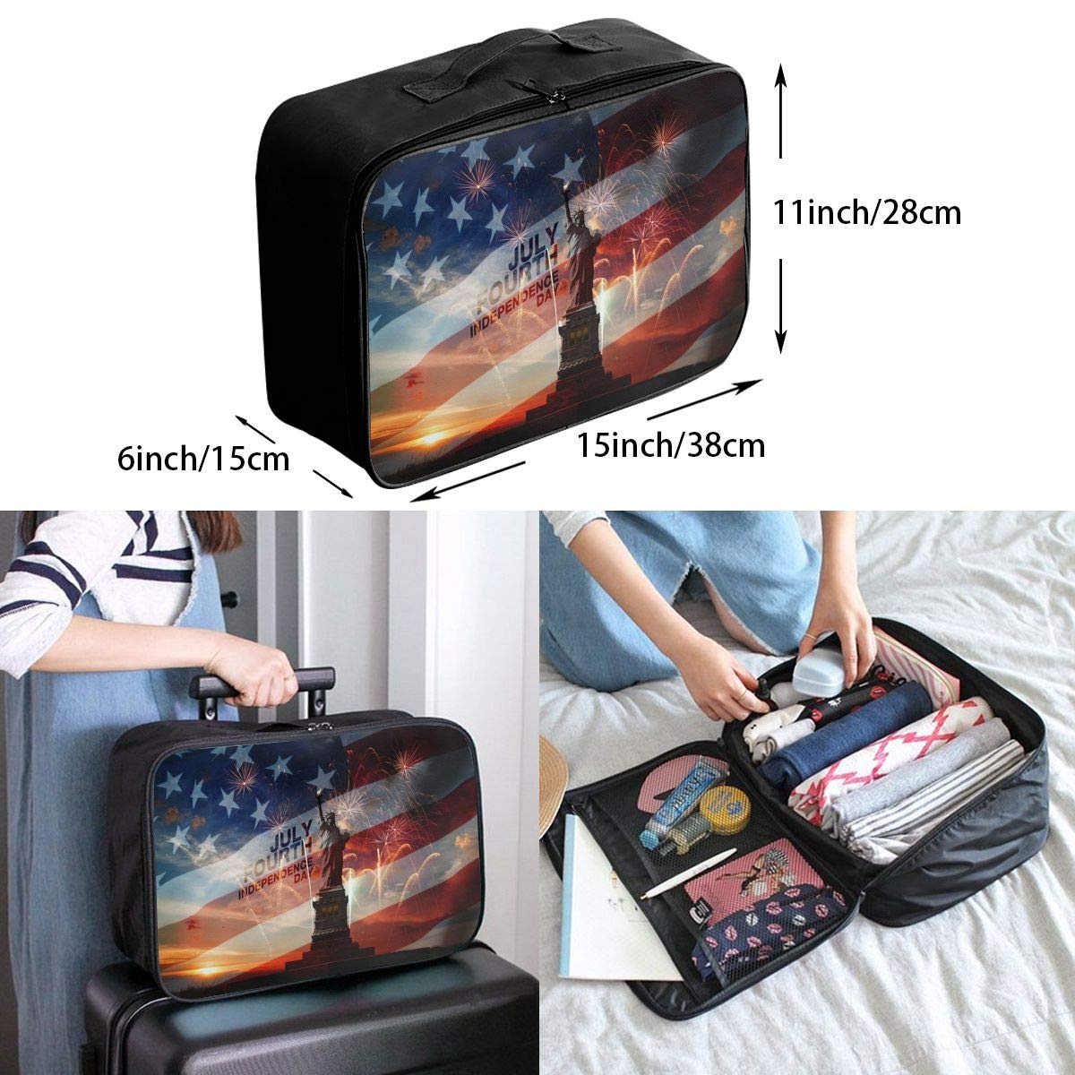 Travel Luggage Duffle Bag Lightweight Portable Handbag The Flag Of The United States Statue Of Liberty Large Capacity Waterproof Foldable Storage Tote