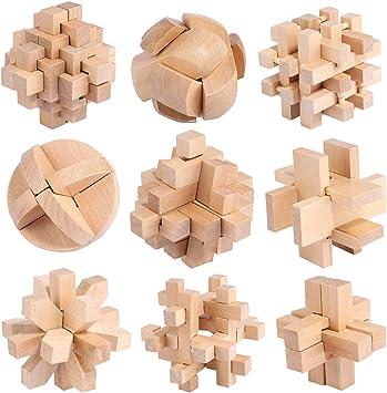 FOKOM Rompecabezas Madera, 9 Pack Puzzles 3D Juegos de Ingenio Juegos de Mesa Juego IQ Juguete Educativos Habilidad Juego Logica Calendario de Adviento para Niños y Adultos: Amazon.es: Juguetes y juegos