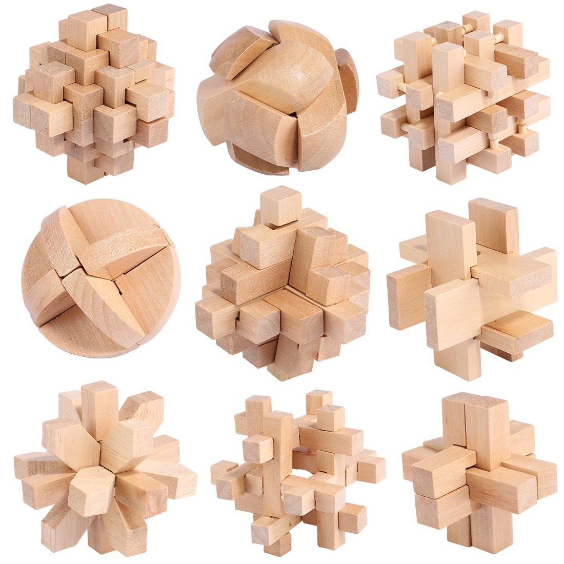 3D-Puzzles, Likeluk IQ Puzzle 3D Holzpuzzle Geduldspiel aus Holz mit 9 unterschiedlich schwierigen Knobelspielen