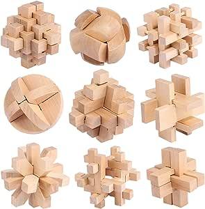 Rompecabezas Madera, FOKOM 9 Pack Puzzles 3D Juegos de