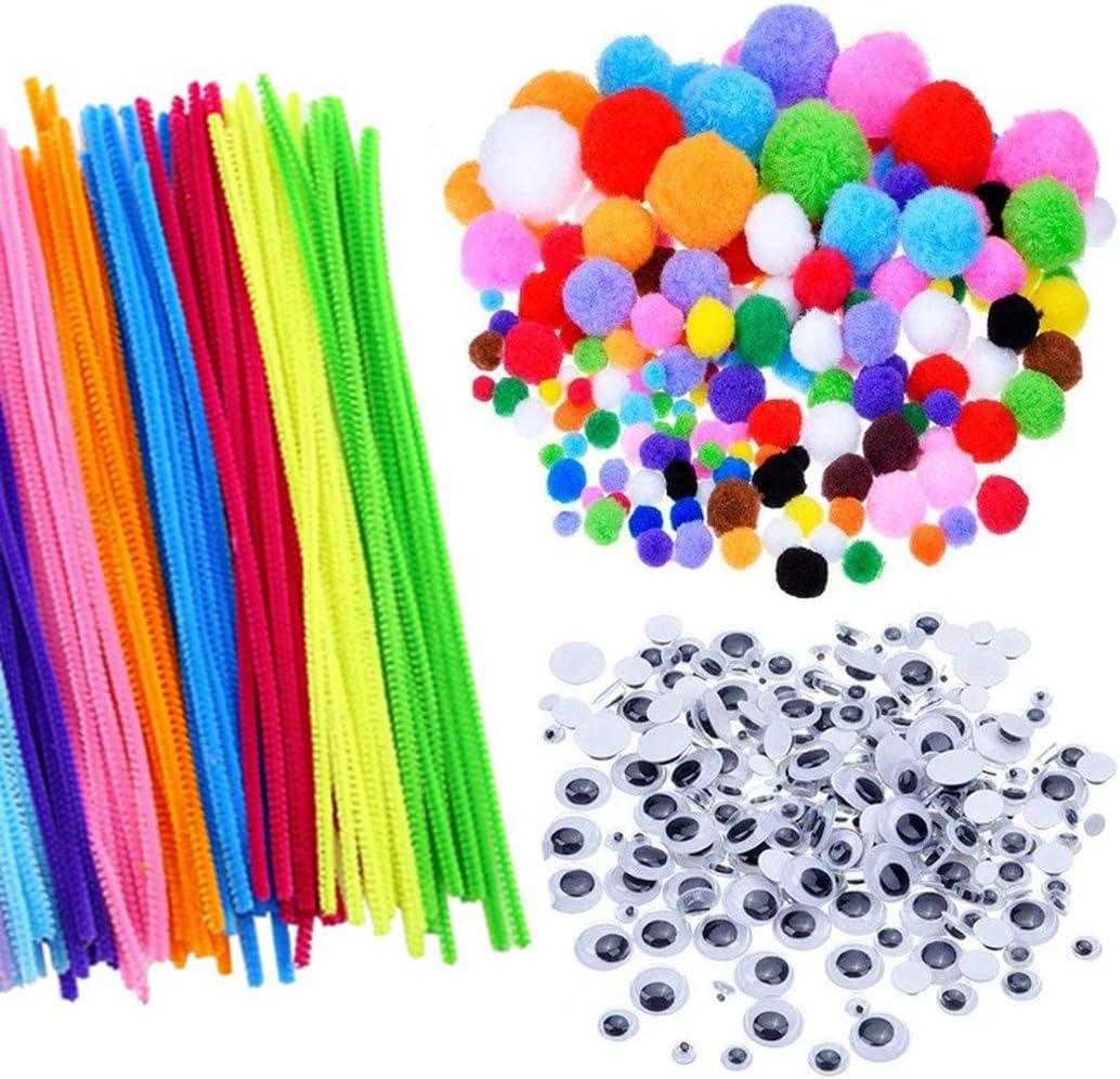 Craft Pipe Cleaners,Pipe Cleaners Craft Set 250PCS Pompones + 150PCS Ojos Saltones Ondulados +100PCS Tallos de Chenilla para Decoraciones de Manualidades Navideñas de Bricolaje,500 piezas Multicolores
