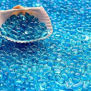 WAYBER Glass Stones, 1Lb/460g Irregular Sea Glass Pebbles Non-Toxic Artificial Crystal Gemstones for Aquarium Turtle Tank Vase Filler Terrarium Flowerpot Decoration, Lake Blue
