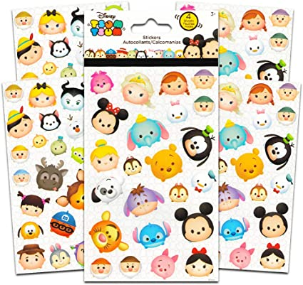 Amazon Com Disney Tsum Tsum Stickers 4 Sheets Of Stickers Featuring Mickey Mouse Minnie Mouse Also Featuring Tsum Tsum Characters From Frozen Toy Story Monsters Inc And Many More By Disney Studios