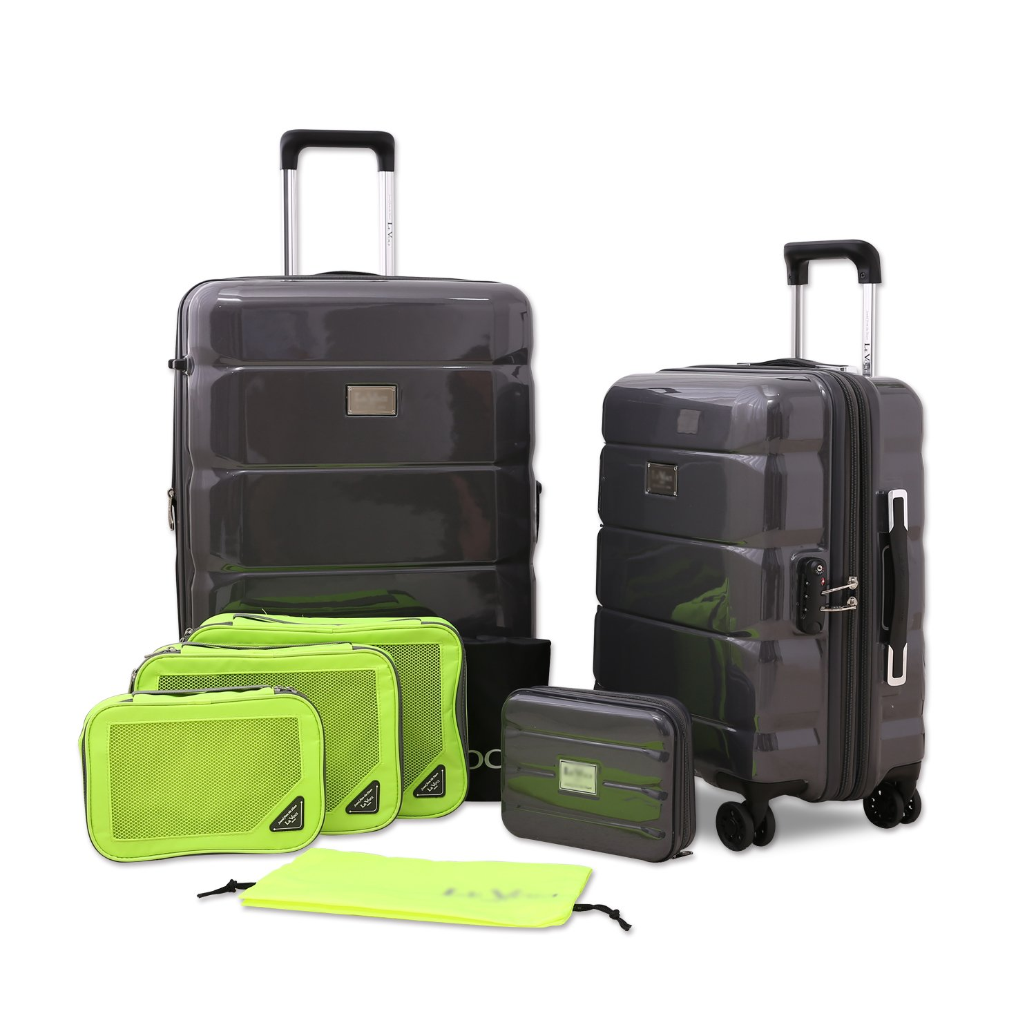 """Unitravel Luggage 2 Piece Set Spinner Suitcase Strong Expandable Lightweight PC with TSA Lock Apply to 20"""" 24"""" (One Size, Gray)"""