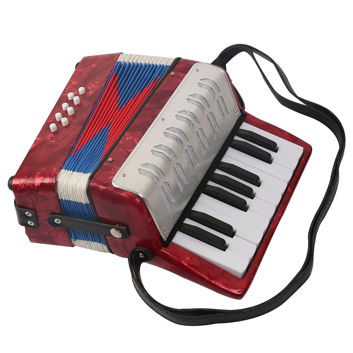 Blueseason M821/M824 17 Keys 8 Bass Children Accordion Children Enlightenment Puzzle Musical Instruments Toys Birthday Toys, Red-M824
