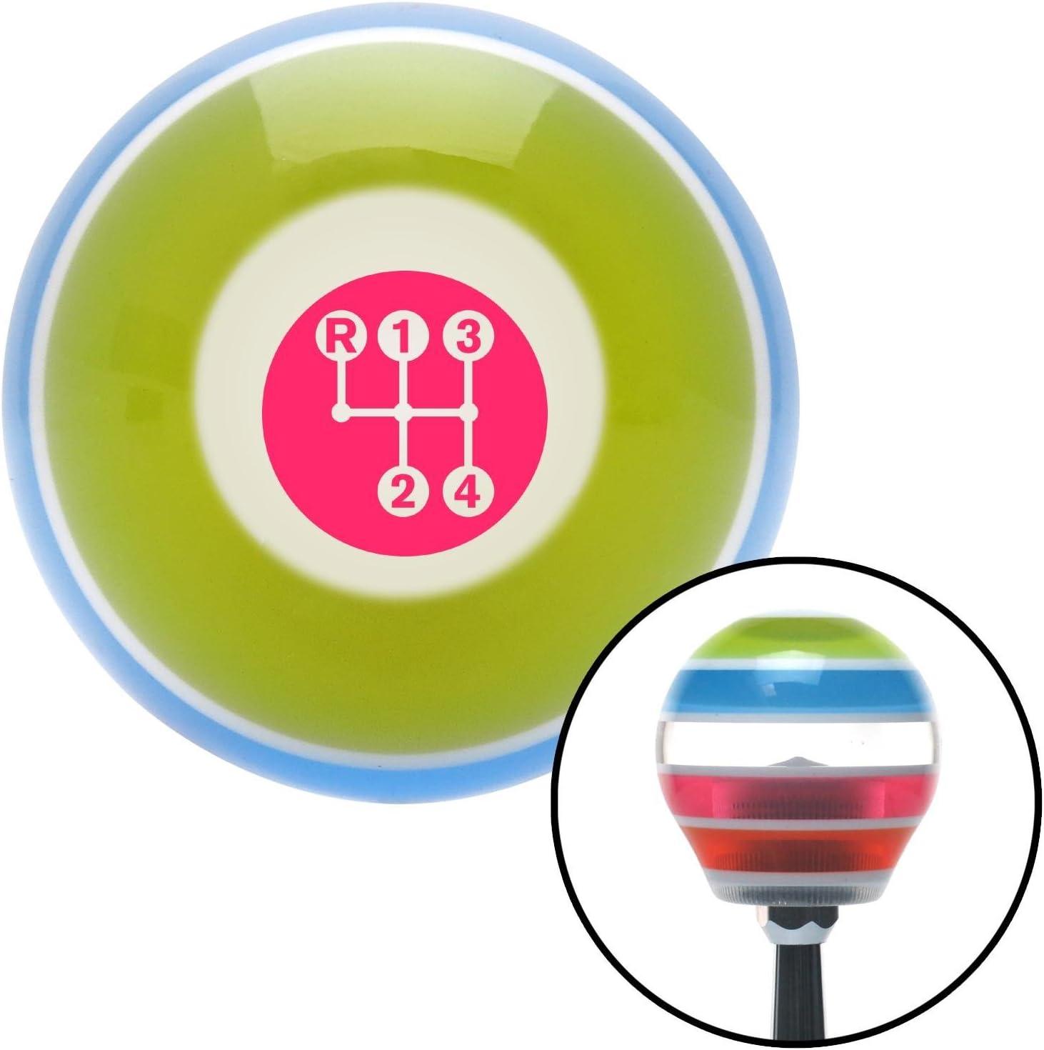 American Shifter 273132 Pink 4 Speed Pattern-Dots 3 Stripe Shift Knob with M16 x 1.5 Insert