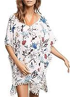 Cfanny Women's Cover-Up Stripes Pompom Trim Chiffon Beachwear