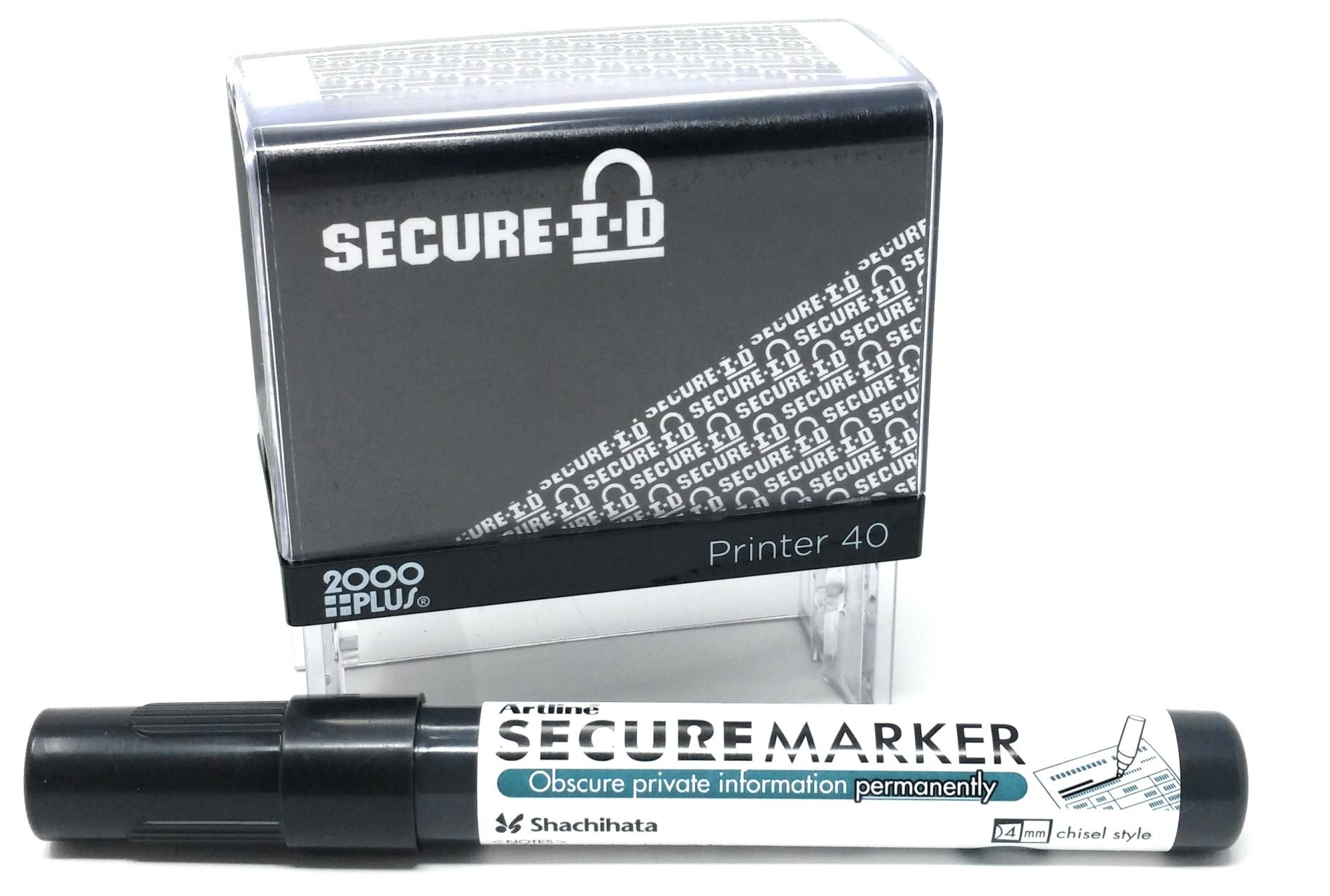 Secure ID and Secure Marker Combo, Identity Theft Block Out Stamp and Marker Combo. Perfect for Blocking Out Confidential Information, Black Case