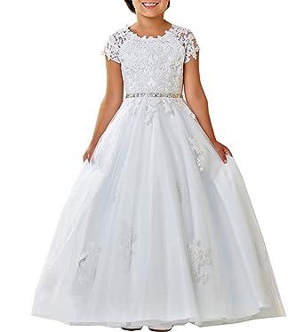 Amazon.com: WuliDress Cap Sleeve Lace First Holy Communion Dresses ...