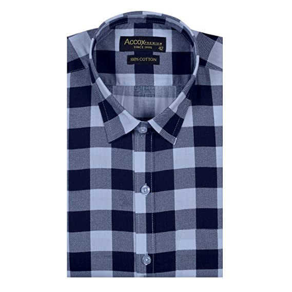 16eba2e3dc0 ACCOX Men s Half Sleeves Formal Regular Fit Cotton Check Shirt (Black
