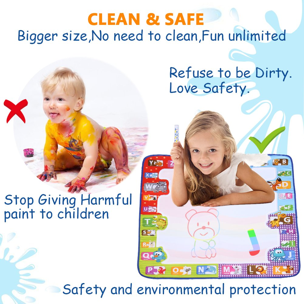 Water Doodle Mat Kids Toy Large Size - Smarkids Rainbow Color Water Magic Drawing Writing Board, Best Painting Play Learning Educational Toys Birthday Gifts for Toddlers, Boys and Girls with 1 Drawing Book, 1 Whiteboard, 3 Water Drawing Pen