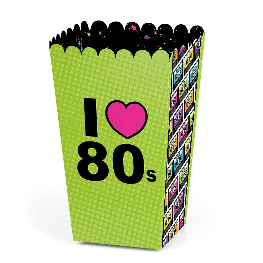 Big Dot of Happiness 80's Retro - Totally 1980s Party Favor Popcorn Treat Boxes - Set of 12 by Big Dot of Happiness