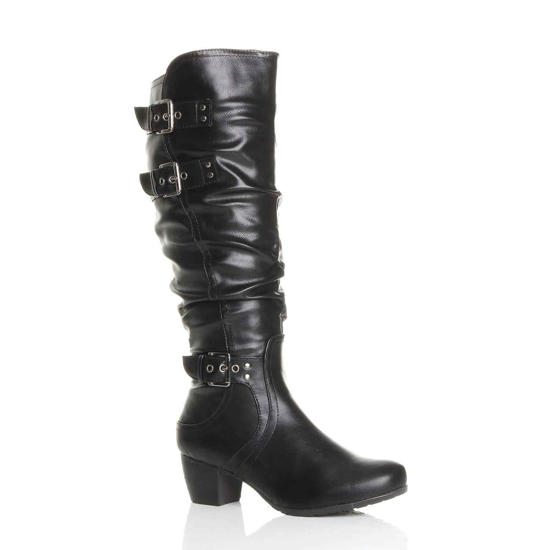 aa00557de08 Ajvani Womens Ladies mid Low Block Heel Buckle Western Ruched Slouch Zip  Calf Knee Boots Size  Amazon.co.uk  Shoes   Bags