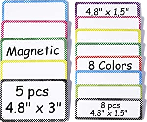 Magnetic Name Plates Dry Erase Labels: 8pcs 4.8 x 1.5 inches + 5pcs 4.8 x 3 inches
