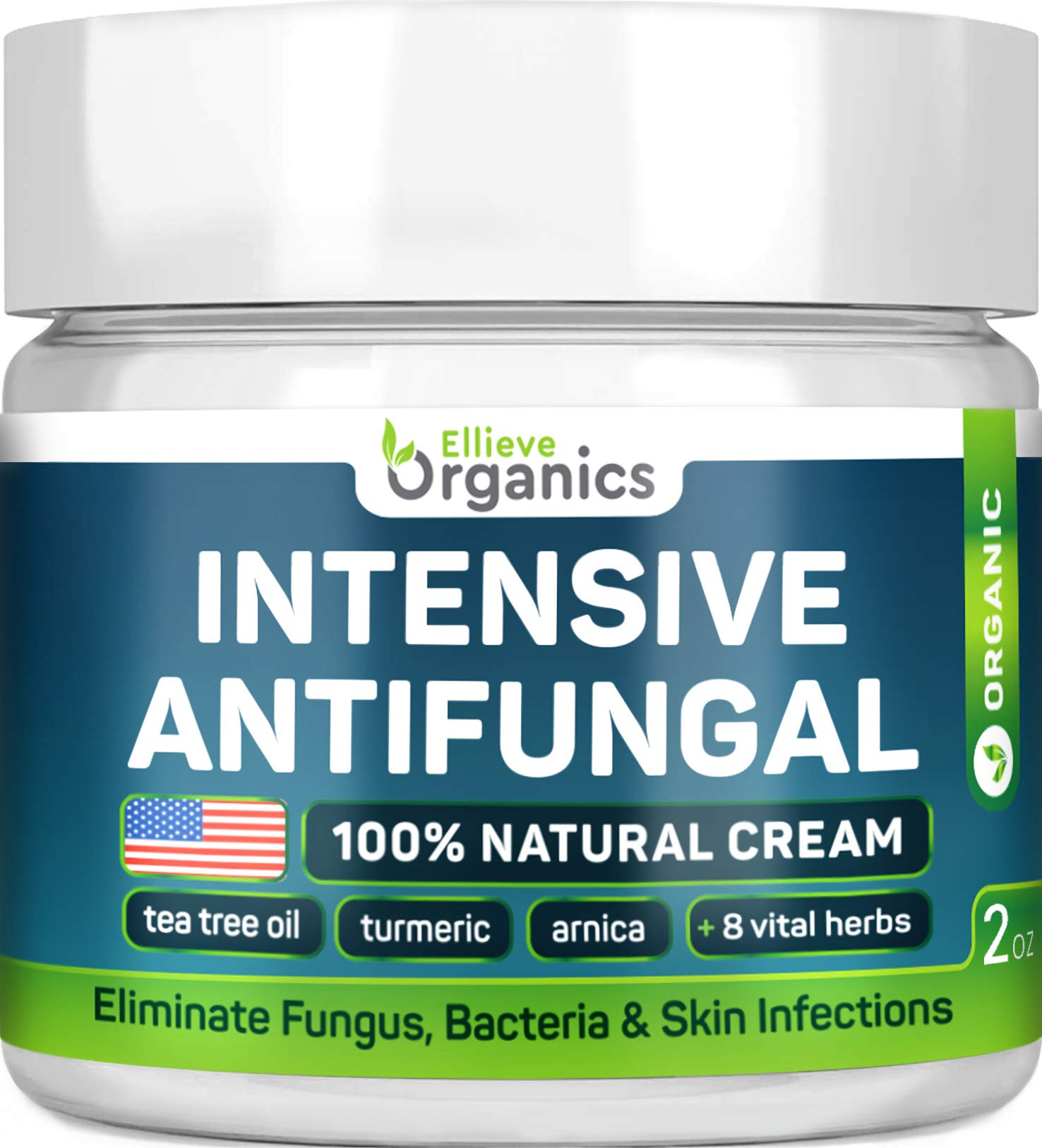 Antifungal Cream - Extra Strength - Made in USA - Effective Toenail Fungus Treatment and Ringworm Treatment for Humans - Combats Body Acne, Athletes Foot, Jock Itch - 100% Natural - 2 OZ by ELLIEVE Organics