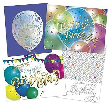 Amazon.com: 50 tarjetas de cumpleaños premium – 4 diseños de ...